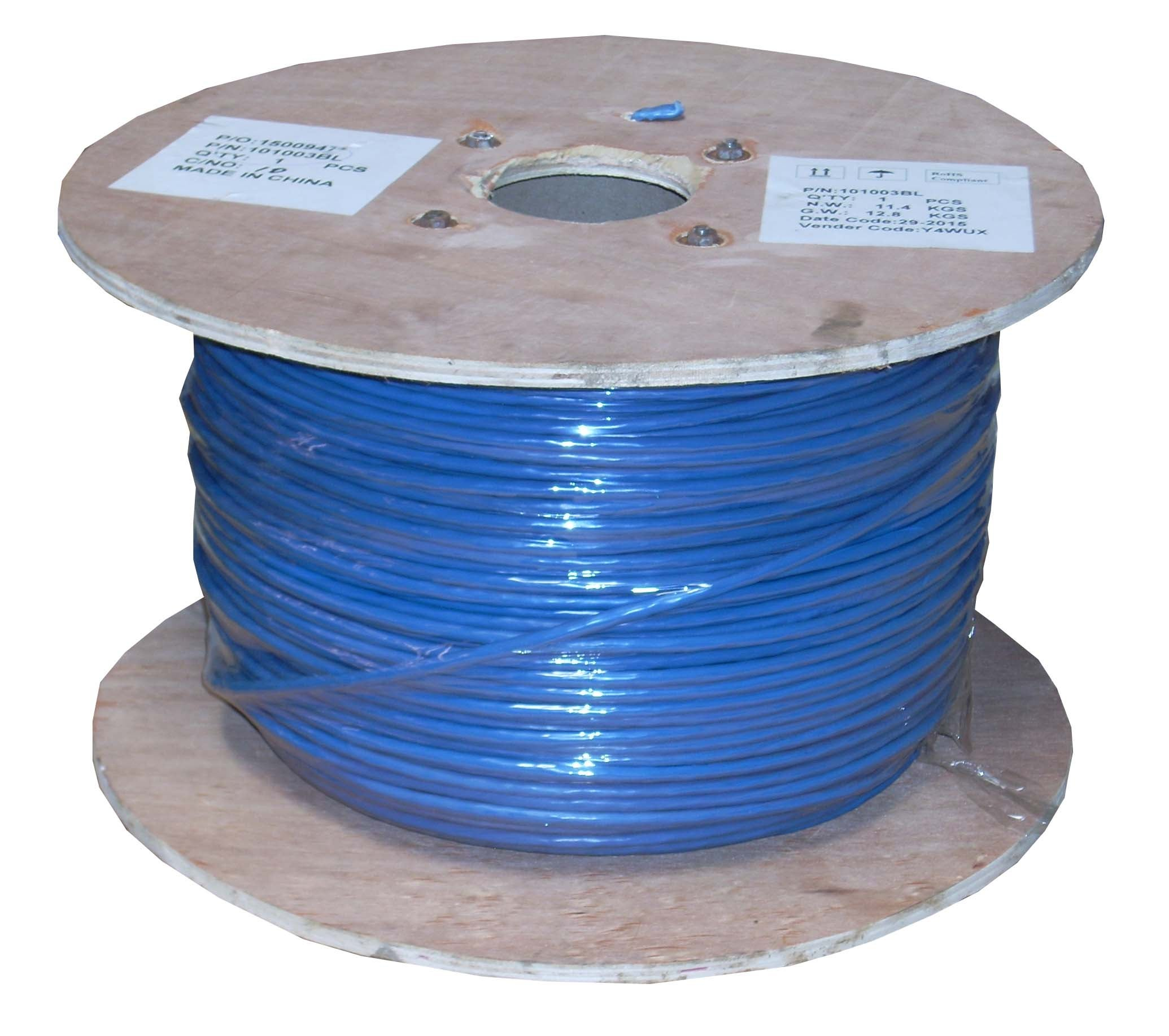 500MHz CMR 23AWG Blue Solid Wire SF Cable Cat6 Ethernet Bulk Cable 1000ft Network Internet Cord