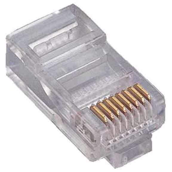 RJ45 Cat5e Plug Solid 50 Micron 3 Prong 20pk