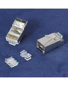 RJ45 Cat.6A Shielded Plug Stranded 50 Micron 3pc type 20pk