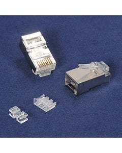 RJ45 Cat.6A Shielded Plug Solid 50 Micron 3pc Type 20pk