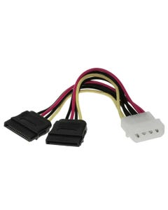 "6"" 4-Pin MOLEX Male to 2 15-Pin SATA II Female Power Cable"