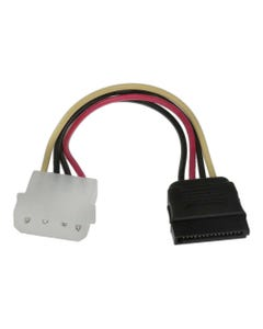 "6"" 4-Pin MOLEX Male to 15-Pin SATA Female Power Cable"