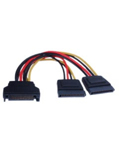 "6"" SATA II Male to 2 15-Pin SATA II Female Power Cable"