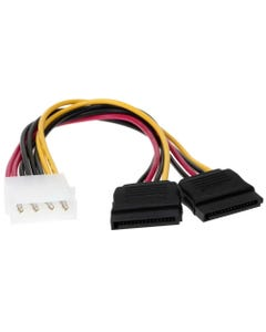 "8"" 4P Male to 2x SATA 15P Y Adapter"