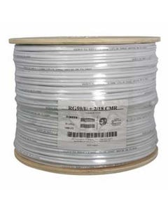 1000ft RG59 w/2x18AWG Power White CMR