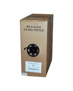 1000ft RG6 Quad Shield Coax Cable Black CMR