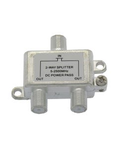2 Way 2.5GHz Satellite Splitter DC Power Pass