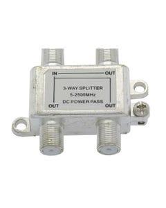 3 Way 2.5GHz Satellite Splitter DC Power Pass