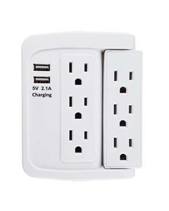 6 Outlet Swivel Wall Tap Adapter w/ 500J Surge Protector and 2 USB Charging Ports