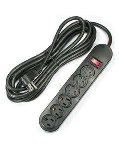 9ft 6-Outlet Power Strip AC125V 14AWG Black