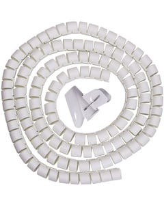 """Spiral Cable Zip Wrap White 30mm x 1.5m (1.2"""" x 4.92Ft)"""