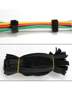 """Hook and Loop Strap 1/2"""" Width Black, 50pc Pack"""