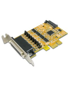 4-port DB25 Female RS-232 PCI Express Serial Low Profile Board with Power Output (SATA Power Socket)