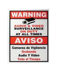 """Surveillance Warning Sign English/Spanish Red 7""""x9"""""""