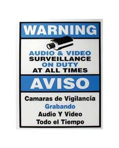 """Surveillance Warning Sign English/Spanish Blue 7""""x9"""""""