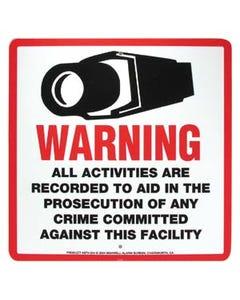 """Surveillance Warning Sign English 10.5""""x10.5"""""""