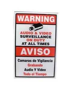 """Surveillance Warning Sign English/Spanish Red 11.5""""x18"""""""