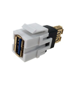 USB 3.0 Keystone Jack - Type A Female to A Female Coupler Adapter Flush Type