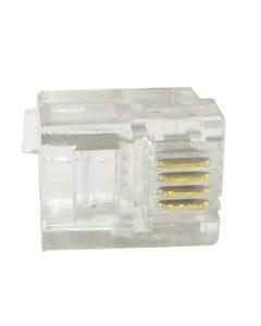 RJ11 6P4C Plug Round Solid 50 pcs per bag