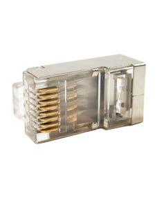 RJ45 Cat6 Shielded Plug Solid 50 Micron 2 Prong w/Inserter 100pk
