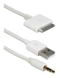 Hi-fi Stereo Audio & USB Sync/Charger Cable for iPod/iPhone & iPad/2/3