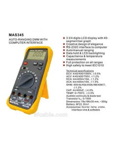 Mastech Sinometer MAS345 Digital MultiMeter Atuo-Ranging DMM PC-Interfaced