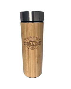 Bamboo Thermos Tea Tumbler Double Wall Stainless Steel Vacuum with Strainer and Leak Proof Lid