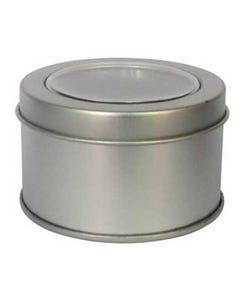 Round Metal Box with Clear Window
