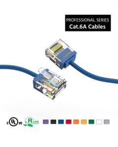 10Ft Cat6A UTP Super-Slim Ethernet Network Cable 32AWG - Blue