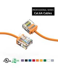 10Ft Cat6A UTP Super-Slim Ethernet Network Cable 32AWG - Orange