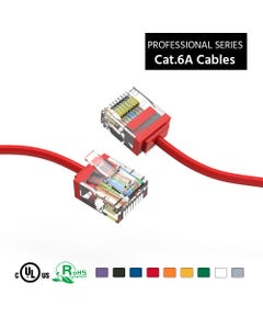 10Ft Cat6A UTP Super-Slim Ethernet Network Cable 32AWG - Red