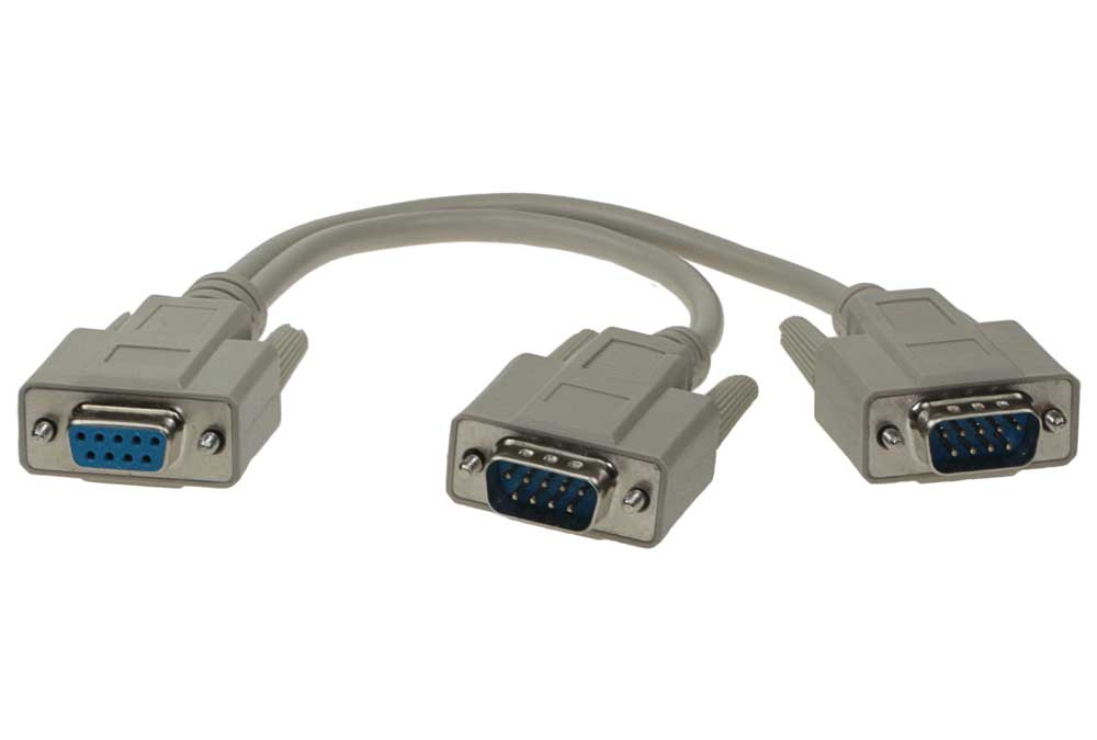1 Foot DB9 Male//Female RS232 to Dual DB9 Male//Female RS232 Serial Cable 1Ft