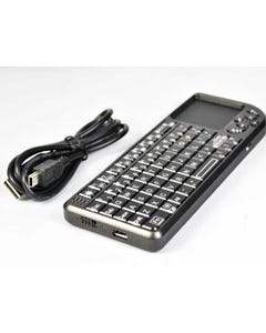 3-in-1 Mini Tiny Wireless Keyboard 2.4GHz Multimedia Handheld Keyboard with Built-in Touchpad Laser