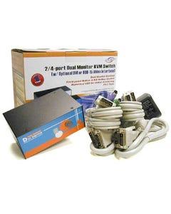 2 Port Linkskey Dual Monitor Enhanced DVI KVM Switch w/ Cables