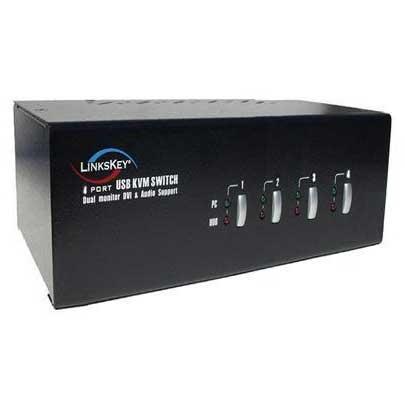 4 Port Dual Monitor DVI Audio & Mic KVM Switch w/ Cables