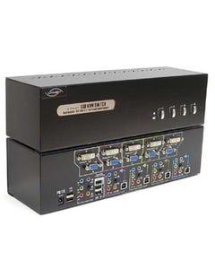 4 Port Linkskey Dual Monitor DVI/VGA USB KVM + 7.1/MIC/USB w/ cables