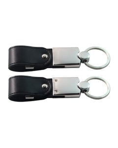 USB Black Snap Leather Key Ring Flash Drive