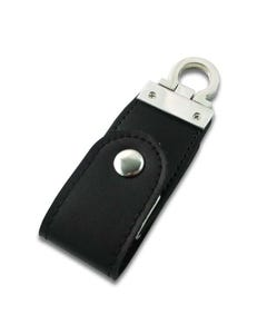 USB Button Black Leather Flash Drive