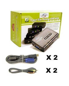 2 Port Linkskey Slim Palmtop USB Audio & Mic KVM Switch w/ Cables
