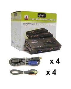 4 Port Linkskey USB Audio & Mic KVM Switch w/ 4 sets of 6ft 3in1 cables