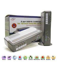 4 Port Linkskey Desktop USB PS/2 KVM Switch w/ Audio & Mic