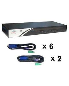 """8 Port Linkskey USB/PS2 KVM Switch 19"""" Rackmount 1U w/ Cables"""