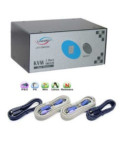 2 Port Linkskey Dual Monitor KVM Switch w/ Cables