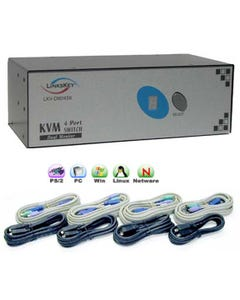 4 Port Linkskey Dual Monitor KVM Switch w/ Cables