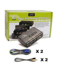 2 Port Linkskey PS2 Audio & Mic KVM Switch w/ 2 sets of 4ft 3in1 cables