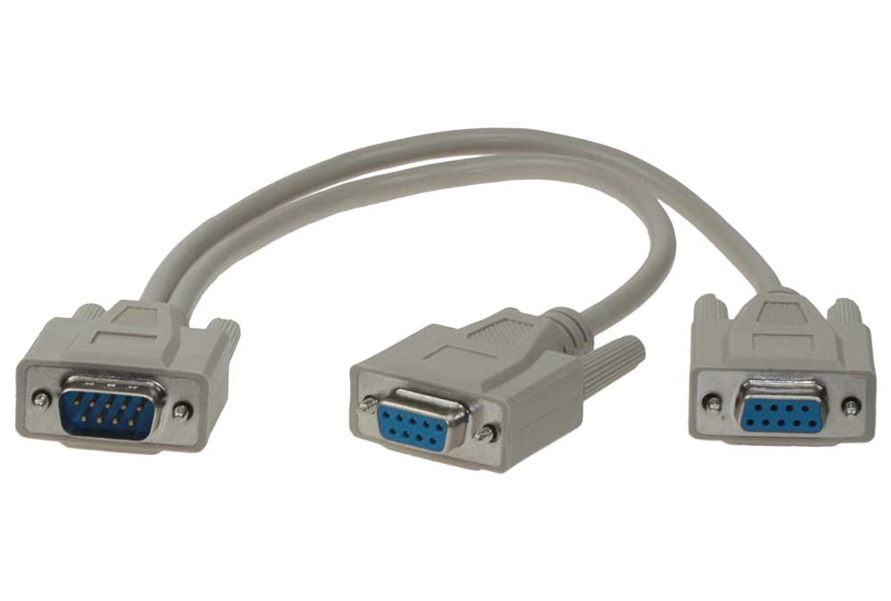 5 Cables Sets** DB9 Male to 2 Female Serial Rs232 Y Cable 12 Inches