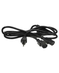 6ft 18 AWG NEMA 5-15P to 2 C13 Power Cord Splitter