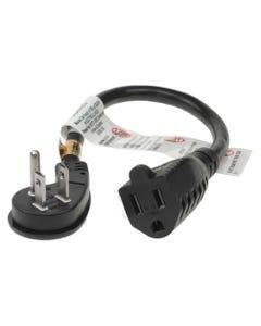 1ft Ultra Low Profile Angle NEMA 5-15P to NEMA 5-15R Power Cord - Black