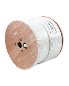 500ft RG6 Dual Shield Siamese Bare Copper Coax Cable CMR Cable White