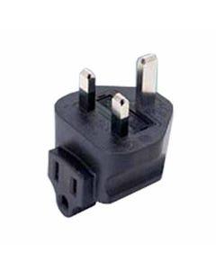 USA NEMA 5-15R to British BS1363A UK fused Power Plug Adapter, right angle